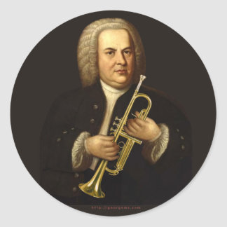J.S. Bach with Trumpet Classic Round Sticker
