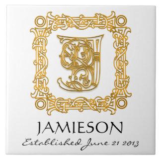 """J"" Surname Wedding Anniversary Day Monogram Tile"
