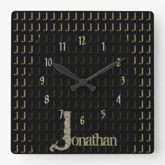 J - The Falck Alphabet (Golden) Square Wall Clock