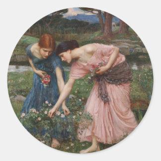J.W. Waterhouse Gather Ye Rosebuds Classic Round Sticker