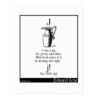J was a jug postcard