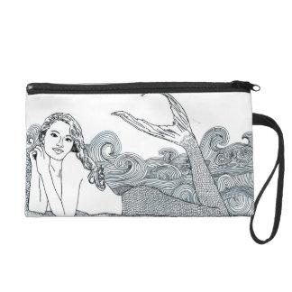 J Wristlet of a Curly Waves Mermaid