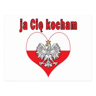 ja Cie kocham Eagle Heart Postcard
