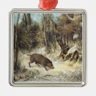 Jabalí en la nieve, firmada como Courbet (falsific Ornamentos Para Reyes Magos