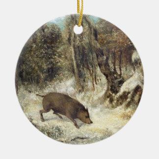 Jabalí en la nieve, firmada como Courbet (falsific Ornamentos De Navidad