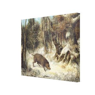 Jabalí en la nieve, firmada como Courbet (falsific Impresiones En Lienzo Estiradas