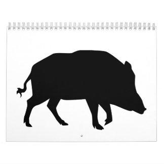 Jabalí negro calendarios de pared