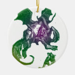 Jabberwocky and Alice Double-Sided Ceramic Round Christmas Ornament