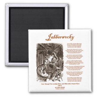 Jabberwocky Poem by Lewis Carroll (Black Adder) 2 Inch Square Magnet