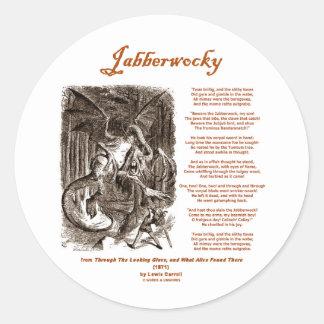 Jabberwocky Poem by Lewis Carroll (Black Adder) Classic Round Sticker