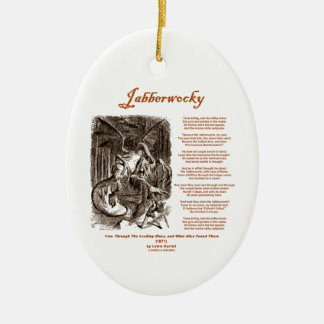 Jabberwocky Poem by Lewis Carroll (Black Adder) Double-Sided Oval Ceramic Christmas Ornament