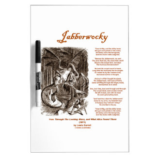 Jabberwocky Poem by Lewis Carroll (Black Adder) Dry-Erase Board