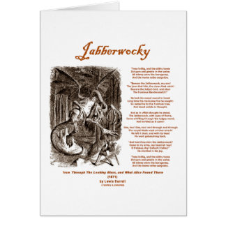 Jabberwocky Poem by Lewis Carroll (Black Adder) Greeting Card