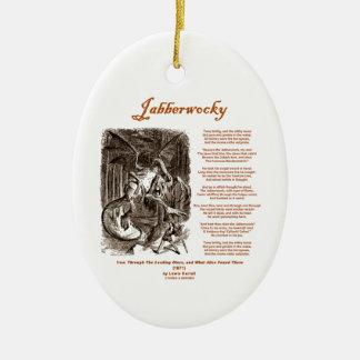 Jabberwocky Poem by Lewis Carroll (Black Adder) Christmas Ornament