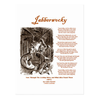 Jabberwocky Poem by Lewis Carroll (Black Adder) Postcard