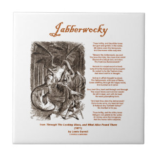 Jabberwocky Poem by Lewis Carroll (Black Adder) Small Square Tile