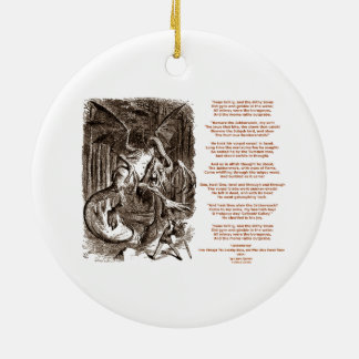 Jabberwocky Poem by Lewis Carroll Double-Sided Ceramic Round Christmas Ornament