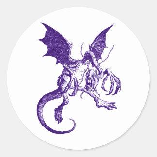 Jabberwocky Purple Classic Round Sticker