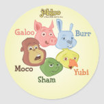 Jabloo Circle Sticker on Yellow Background