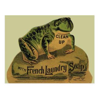 Jabón de lavadero francés de la rana tarjetas postales