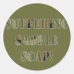 Jabón de silla de montar sufridor pegatina redonda