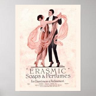 Jabón del vintage y poster del perfume
