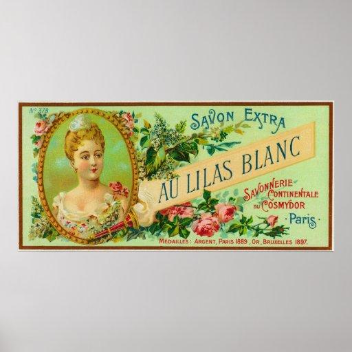 Jabón LabelParis, Francia de Lilas Blanc del Au Posters