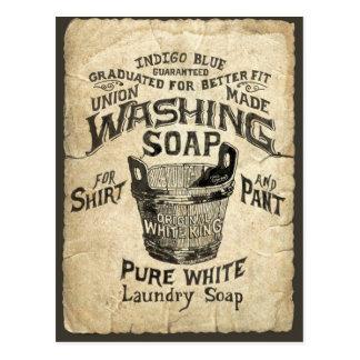 Jabón que se lava del anuncio postal