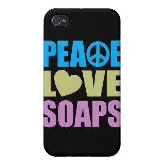Jabones del amor de la paz iPhone 4 protectores