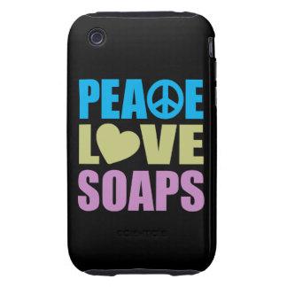 Jabones del amor de la paz funda resistente para iPhone 3