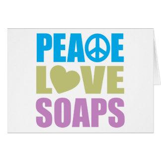 Jabones del amor de la paz tarjeton