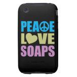 Jabones del amor de la paz tough iPhone 3 fundas