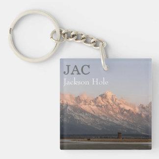 JAC Jackson Hole Airport Double-Sided Square Acrylic Keychain