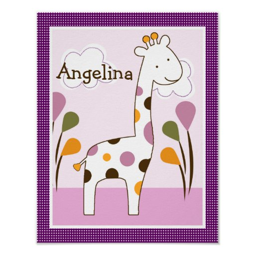 Jacana Giraffe Girl Animals Art Poster/Print Poster