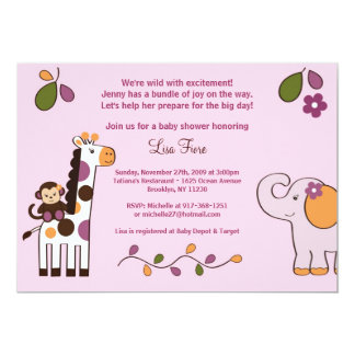 Jacana Jungle Animals Baby Shower Invitations
