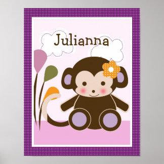 Jacana Monkey Girl Personalized Art Poster