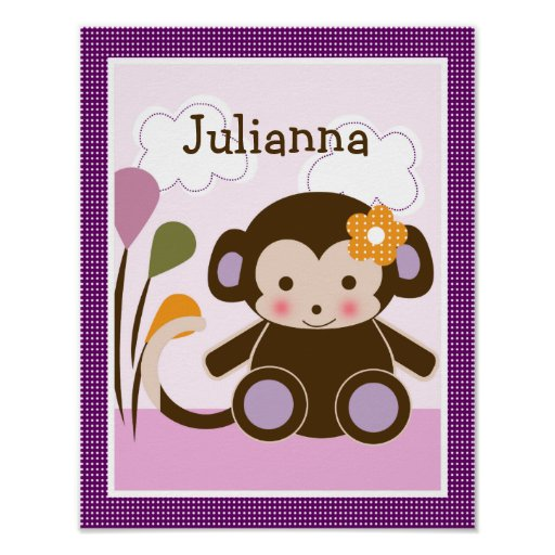 Jacana Monkey Girl Personalized Art Poster