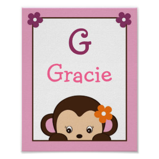Jacana Monkey Jungle Nursery Wall Art Name Print