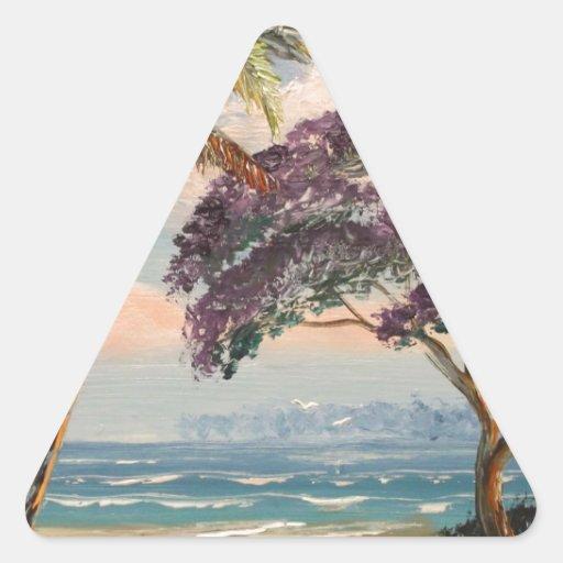 Jacaranda en la playa pegatina triangular