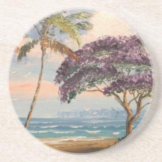 Jacaranda en la playa posavasos diseño
