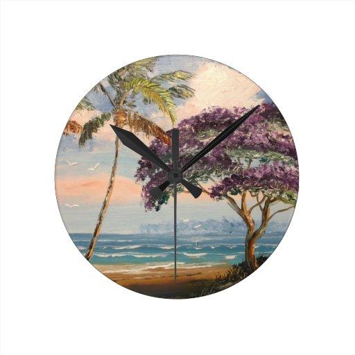 Jacaranda on the Beach Round Wall Clock