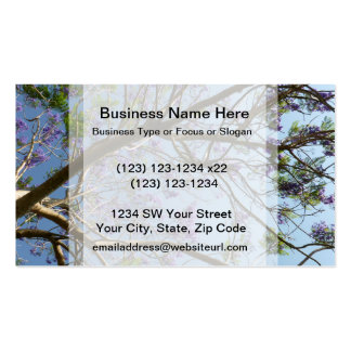 jacaranda tree branches flowers sky business card