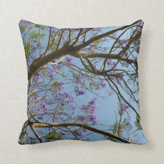 jacaranda tree branches flowers sky throw pillow