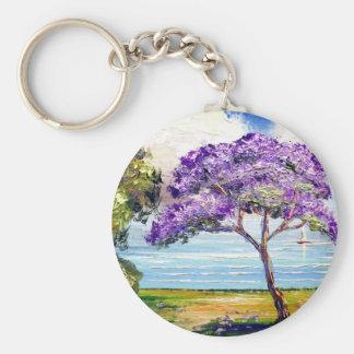 Jacaranda Tree Tropical Art Keychain