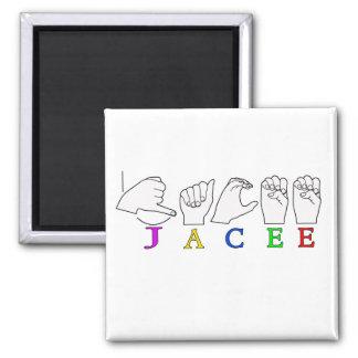 JACEE ASL FINGERSPELLED NAME SIGN FEMALE 2 INCH SQUARE MAGNET