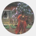 Jacek Malczewski- Thanatos Round Stickers