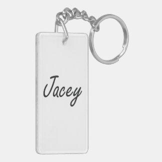 Jacey artistic Name Design Double-Sided Rectangular Acrylic Keychain