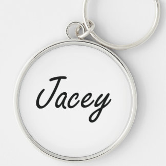 Jacey artistic Name Design Silver-Colored Round Keychain