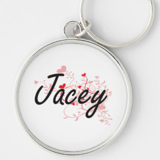 Jacey Artistic Name Design with Hearts Silver-Colored Round Keychain