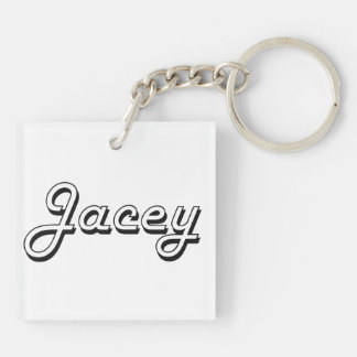 Jacey Classic Retro Name Design Double-Sided Square Acrylic Keychain